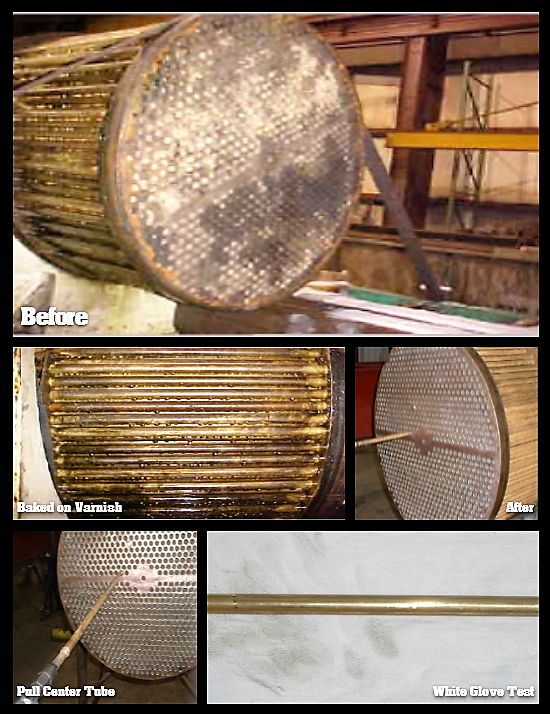 Before & After comparison of enclosed mobile bundle cleaner performance on heat exchanger